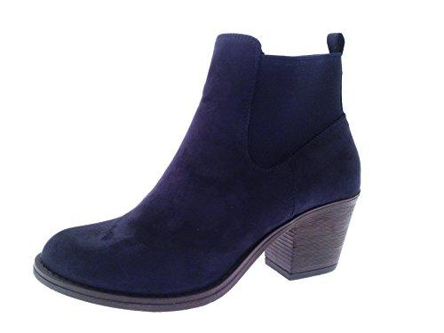 Lora Dora Damen Stiefel & Stiefeletten Blau Dunkelblau - Black Suede Slouch Boots