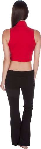 Sakkas Mock Neck Turtleneck Ärmelloses Scuba Crop Top - Made in USA Rot