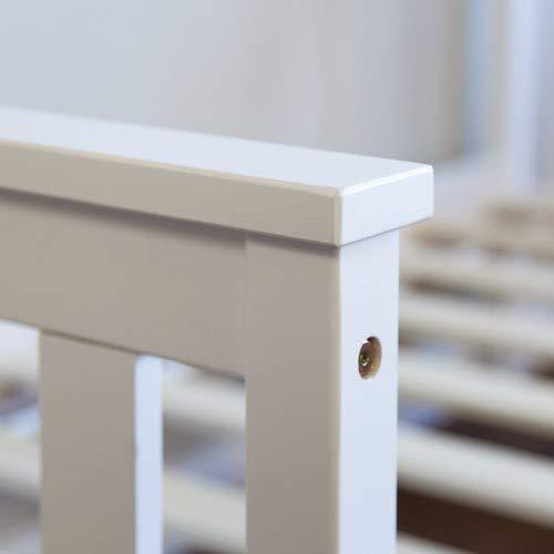 Homestyle4u 1417 Holzbett Kiefer massiv, Einzelbett aus Bettgestell mit Lattenrost, 70×140 cm, Weiß - 4