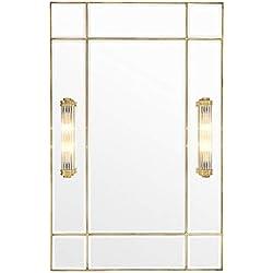 Casa-Padrino Espejo de Pared luz latón Vintage 90 x 13 x H. 140 cm - Calidad