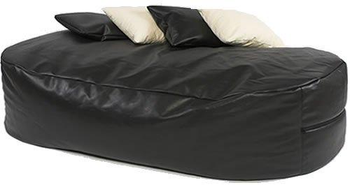 XXXL HUGE 16cu FT BLACK FAUX LEATHER BEANBAG BED BEAN BAG SOFA