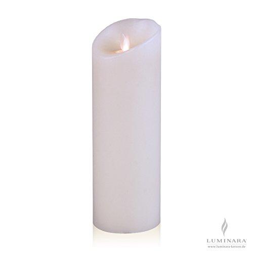 Luminara LED vela de cera con 8 x 23 cm blanco liso