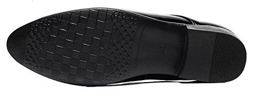 NSPX I vestiti degli uomini di calza i pattini casuali di affari britannici / i pattini di cerimonia nuziale del merletto di punta di colore nero grande formato 45,46 , 44 , black 44-BLACK