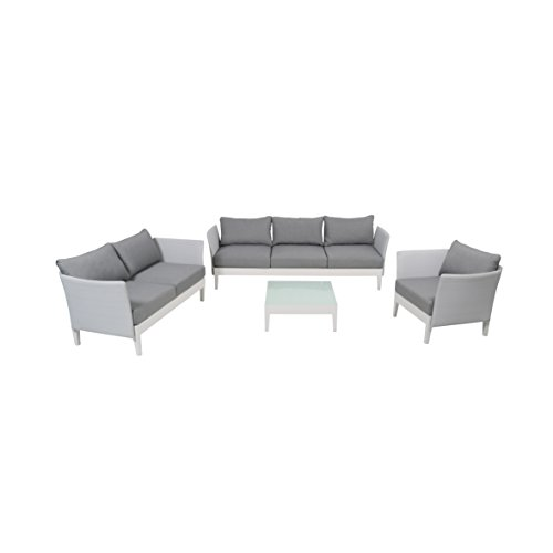 Arme Aluminium Lounge (greemotion Lounge-Set Memphis, 4-teiliges Aluminium-Loungeset für indoor und outdoor, Loungemöbel-Garnitur mit Liegefunktion, grau / weiß)