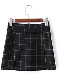 d061117ece Mujeres Primavera Verano Moda Split A Line Vintage Cintura Alta Negro a Cuadros  Blanco lápiz Bodycon
