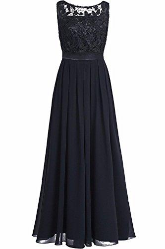 YiZYiF Elegante Damen Kleid Spitzen Abendkleid Cocktailkleid Partykleider Festliche Hochzeit Brautjungfernkleid Chiffon Langes Maxi Kleider Gr. 36-46 Schwarz EU 36 (Herstellergröße 4)