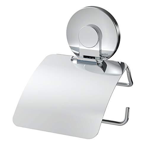 LEVERLOC Toilettenpapierhalter mit Saugnapf, Gestell aus Rostfreiem Stahl, Keine Bohren, Keine Wandbeschädigung, für Badzimmer Küche, verchromt