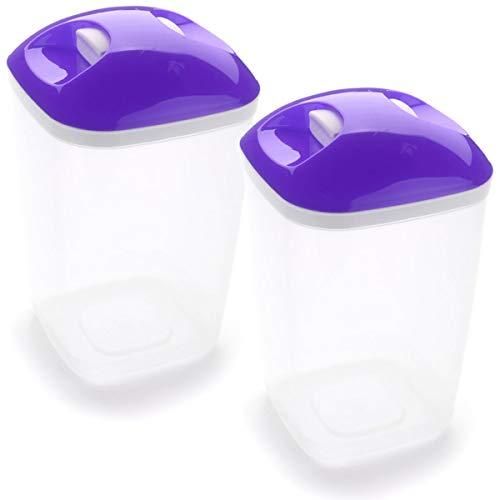 Set de 2 Coupelles hermeticos carrés avec couvercle Violet de 2 litres - BPA Free.