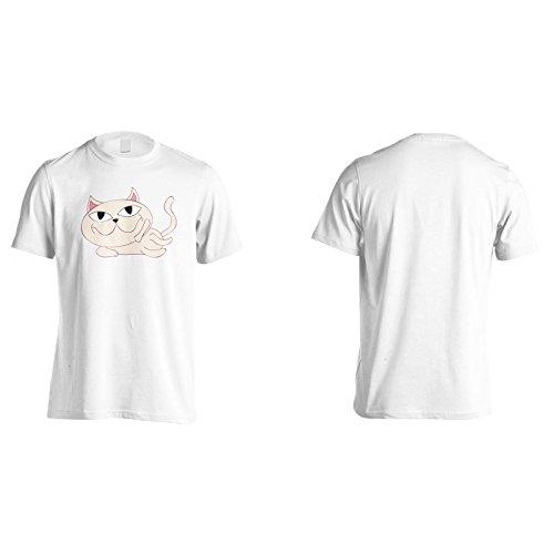 Gatto carino nuova divertente smiley art Uomo T-shirt e185m White