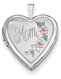 14K 20mm White Gold Enamel Flowers Mom Heart Locket by UKGems