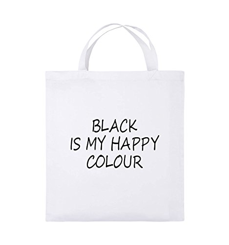 Comedy Bags - BLACK IS MY HAPPY COLOUR - Jutebeutel - kurze Henkel - 38x42cm - Farbe: Schwarz / Pink Weiss / Schwarz