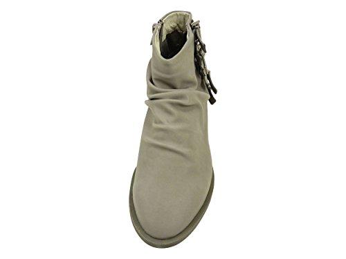 Bottines femme plissées à boucles et zip côté, Low boots à petit talon Gris