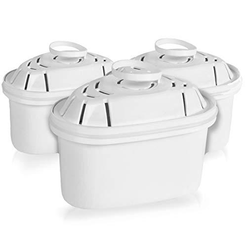 Lauson filtri per acqua purificante, per 4 mesi, sistema di controllo del flusso dell'acqua in 4 fasi, colore bianco, confezione da 3