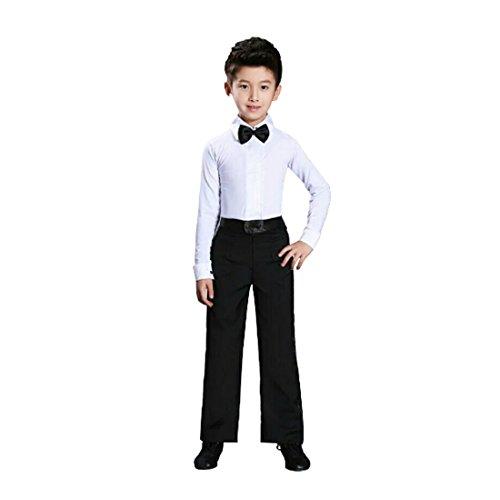 Jungen Kostüm Für Ballroom - Yefree Tanz Männer Latin Top Boys Dance Trikot Kostüme Modern Latin Ballroom Dance Wear Weiß Schwarz
