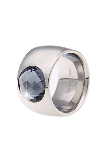 Leslii Damenring Edelstahl-Ring Statement-Ring breiter Ring Edelstahl mit Glasstein Größe 18mm in Hochglanz Silber Grau