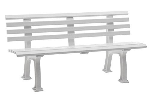 Sitzbank / Gartenbank 3er Design: Sylt, Länge 150cm, weiß (hochwertiger Kunststoff, Parkbank Made in Germany)