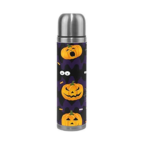 Halloween-Thermosflasche mit lustigem Kürbis-Hut, für Kinder, doppelwandig, Edelstahl, Vakuumbecher, isoliert, Kaffee, Reisetasse, 17 oz