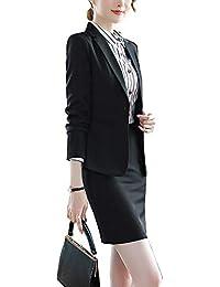 Falda Y Chaqueta De Mujer Elegantes Solapa Botón Abrigos Y Pantalon De  Negocios 88755e5c412a