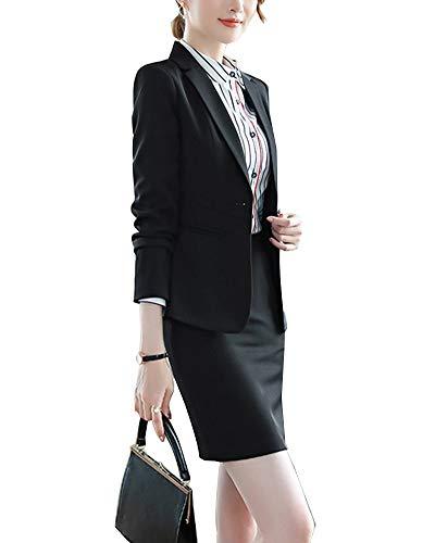 Falda Y Chaqueta De Mujer Elegantes Solapa Botón Abrigos Y Pantalon De Negocios Negro 1 S