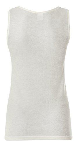 (2 pezzi)spalla larga donna intimo lana cotone inserto macramè made in italy Bianco Lana