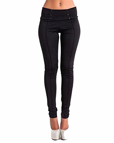 ZANZEA Pantaloni Donna Eleganti Matita Sportivi Skinny Stretch Slim Casual Moda Yoga Jogging Tasche Ufficio Nero IT 48-50