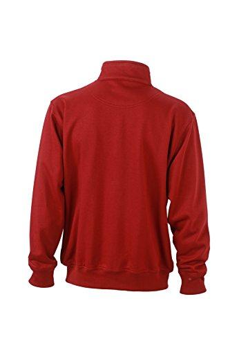 James & Nicholson Herren Workwear Sweat Jacket Sweatshirt Rot (Wine)