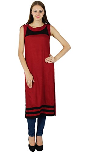 Bollywood Kurta Designer Indien Femmes Casual Ethnique Kurti Cotton Top Tunique Maroon Et Noir