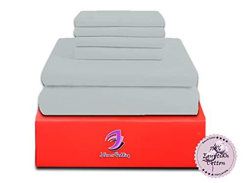 Jose Farmer Bettwäsche Hotelqualität Fadenzahl 1000100% ägyptische Baumwolle Ultra Soft 4Stück Bed Sheet Set Fitt bis 38,1cm Deep Pocket Set (King, Silber Grau, Massiv) (20-zoll-pocket-king-blatt)