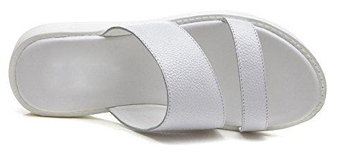 Mme sandales de mode d'été et des pantoufles pantoufles plat mot chaussures drag White