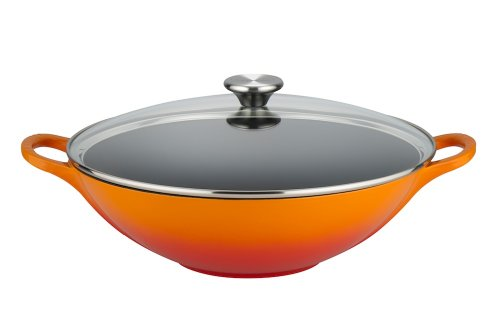 Le Creuset Gusseisen Wok, mit Glasdeckel, 32 cm, ofenrot