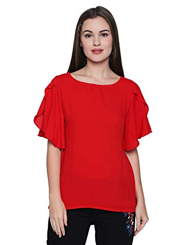 OOMPH! Women's Plain Regular Fit Shirt (mt17xxl_Scarlet Red_XX-Large)
