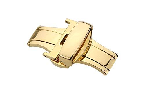 QINCH Home 12mm Semi-Matt Gold Deployant Schnallenverschluss für Armbanduhr Band Double Locking Verschluss Edelstahl -