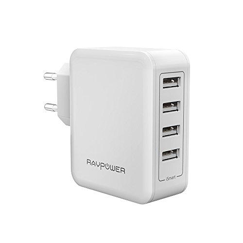 RAVPower Alimentatore USB Caricatore da Muro Portatile da 40W a 4 Porte USB iSmart 2.0, (5V/8A, 2.4A Max Per Porta), Compatibile con iPhone 7 7Plus 6 6s, iPad, Huawei, Galaxy, HTC, LG, ecc - Bianco
