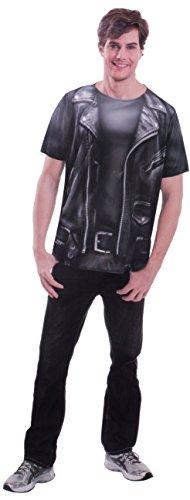 Brandsseller Herren Bedrucktes Shirt Kostüm Verkleidung Fun T-Shirt - Bikerjacke-Design - S/M