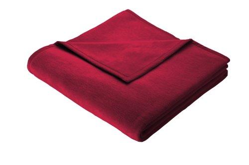 Biederlack Wohn- und Kuscheldecke, 100% Baumwolle, Samtband-Einfassung, 150 x 200 cm, Rot, Cotton...
