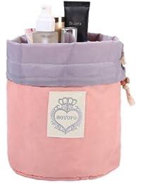 hoyofo organizador gran capacidad Organizador de accesorios de viaje organizador de aseo de cordón en forma de barril neceser maquillaje bolsa de almacenamiento con 1x pequeño bolsillo con cremallera, 1x bolsa de PVC transparente rosa rosa
