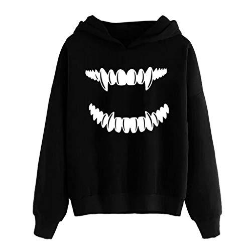 Deep lovly Dame Halloween 3D Print Langarm Hoodie Junge Vampire Print Long Sleeve Schulmädchen Party Frauen Sweatshirt Herbst WinterDigital lässig uniform Horror-Druck-Partei-Lange Hülsen-Pullover