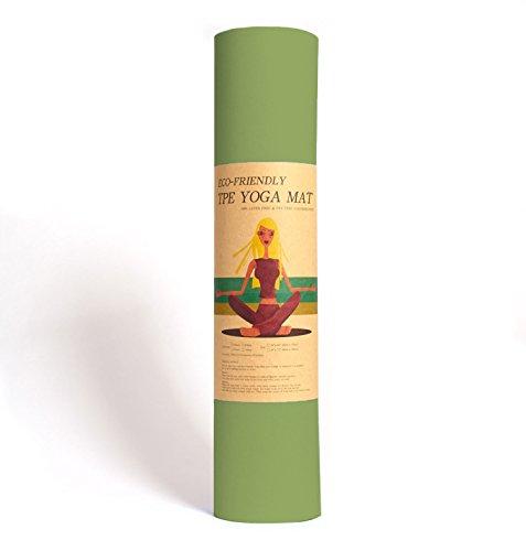 Yoga-Matte Pro Grün von Epic Brands aus umweltfreundlichem TPE-Schaum. Sehr rutschfeste, schadstofffreie, hypoallergene und hautfreundliche Gymnastik-Matte, Fitness-Matte, Turn-Matte