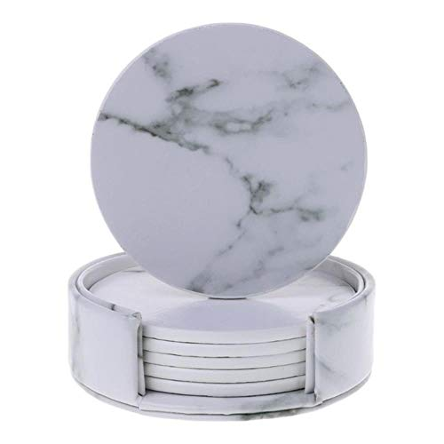 HAHAJY 6 Teile/Satz Marmor Leder Runden Platz Untersetzer Tischset Tasse Matte Pad Halter Küche Geschirr, 01 (Faux-marmor-küche-tisch-set)