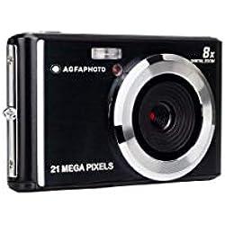 Agfa Appareil photo numérique compact avec capteur CMOS de 21 mégapixels, zoom numérique 8x et écran LCD Noir
