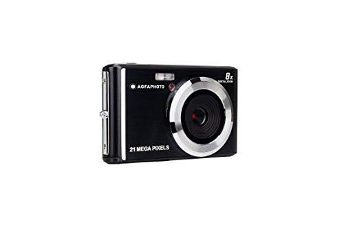 Agfa Photo–Cámara Digital Compacta con 21Mpx, Sensor CMOS, 8x Zoom Digital y Pantalla LCD Negro