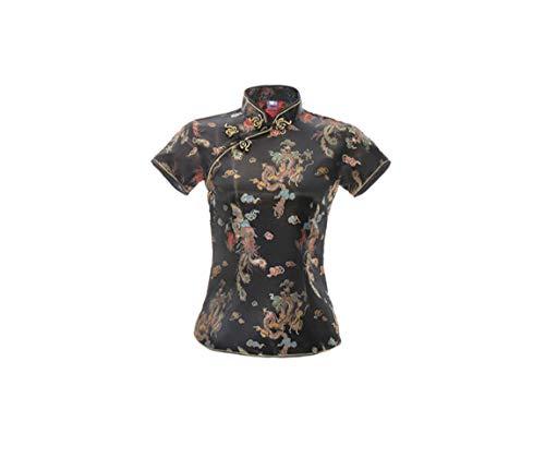 ACVIP Damen Drache Phoenix Qipao Top Kurzarm Stehkragen Chinesische Bluse Oberteile(China M/EU 36,Schwarz)