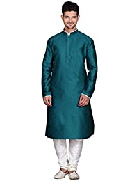 Los hombres de estilo Bollywood Étnico India seda mezcla Kurta Churidar Set by Royal Kurta