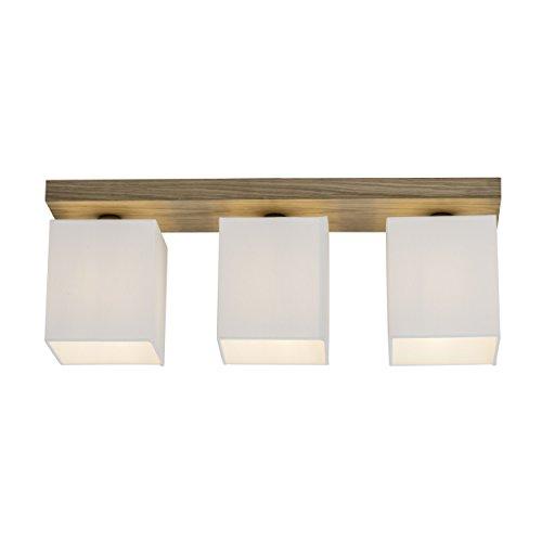 Lámpara de techo de 3focos, 3x E27Max. 40W, madera/textil, roble/blanco