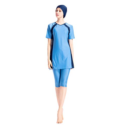 Lazzboy Frauen Muslimischen Badeanzug Mit Kappe Volltonfarbe Beachwear Bademode Bescheiden Surfing Suit Muslim Hindu Jüdisch Shorts Sonnenschutzmittel(Blau,L)