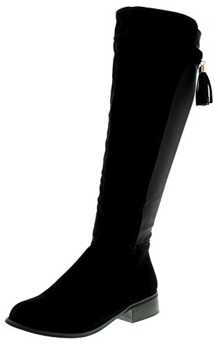 NEU Damen / Damen knielang Veloursleder Effekt Riding Style Stiefel mit Tas - schwarz - UK Größen 3-9 - Schwarz, 38