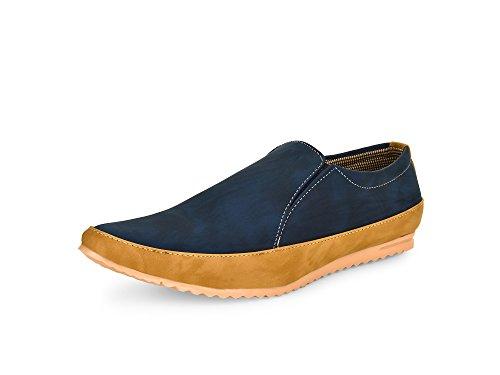 Esense Black Money Men's Blue And Beige Slip On Shoe (9)