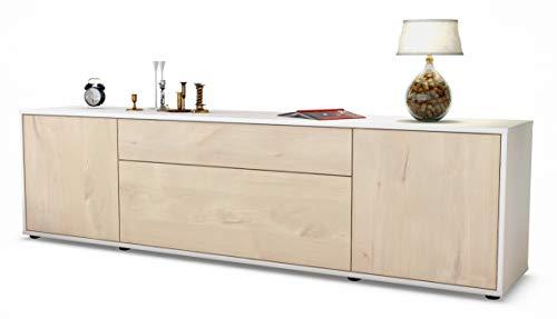 Stil.Zeit TV Schrank Lowboard Aria, Korpus in Weiss Matt/Front im Holz-Design Zeder (180x49x35cm), mit Push-to-Open Technik und Hochwertigen Leichtlaufschienen, Made in Germany