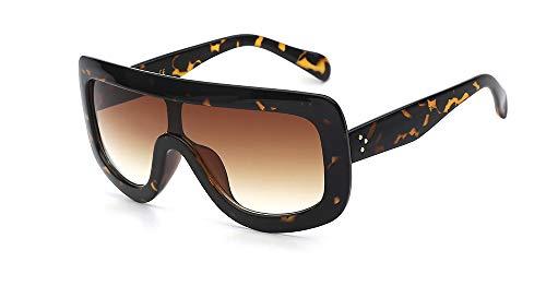 Zbertx Oversize Acetate Square Sonnenbrille Designer Damen Sonnenbrille Shades Goggles Frame Unisex Eyewear,Leopard