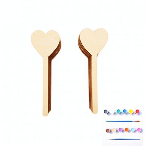 MagiDeal Natürliche Hölzerne Handwerkstifte Unbemalte Herzform Mit Farbe Diy Geschenke